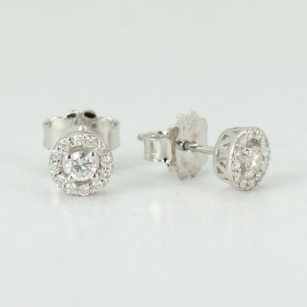 Cercei din aur alb cu diamante