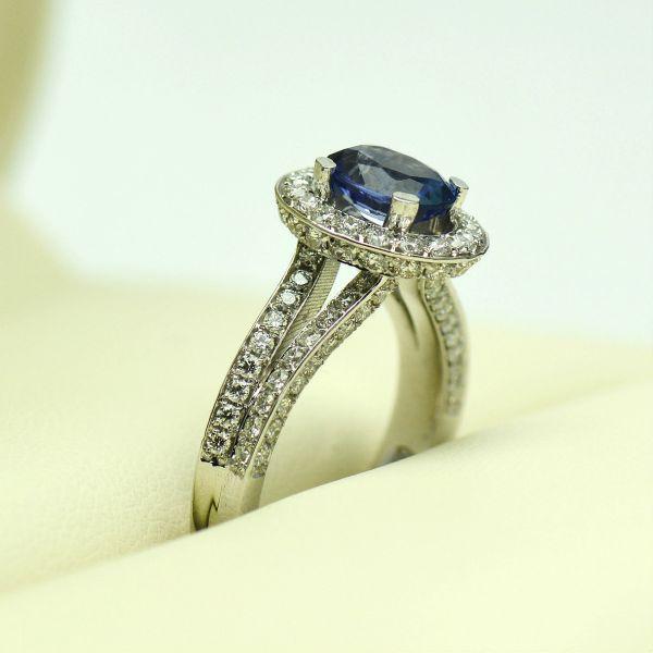 Inel din aur alb 18k cu tanzanit si diamante