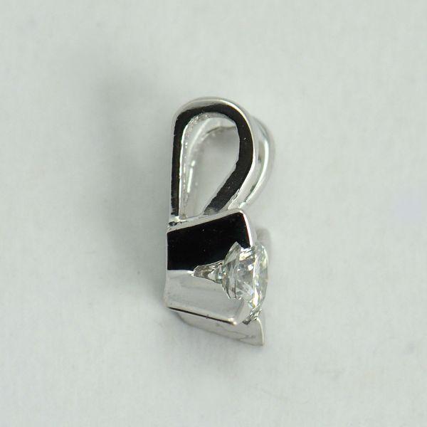 Pandantiv aur alb 18k cu diamant rotund