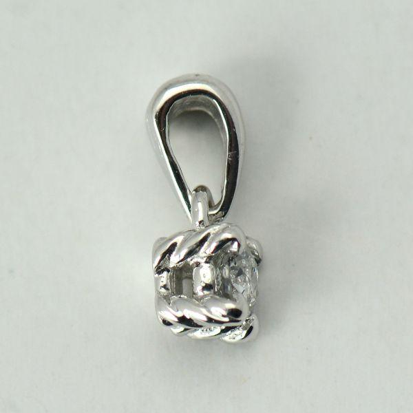 Pandantiv aur alb cu diamant rotund