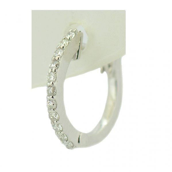 Cercei cu diamante, aur alb 18k