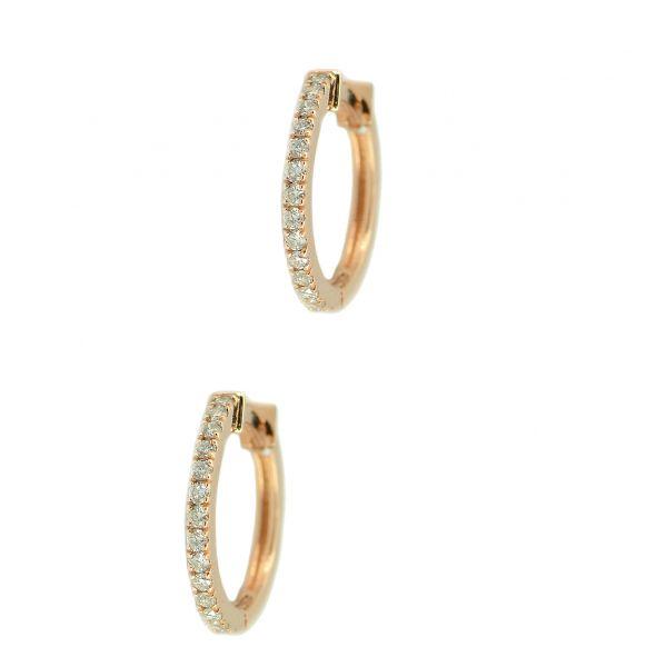 Cercei cu diamante din aur roz 18k