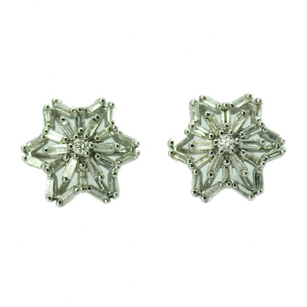 Cercei de aur alb 14k cu diamante