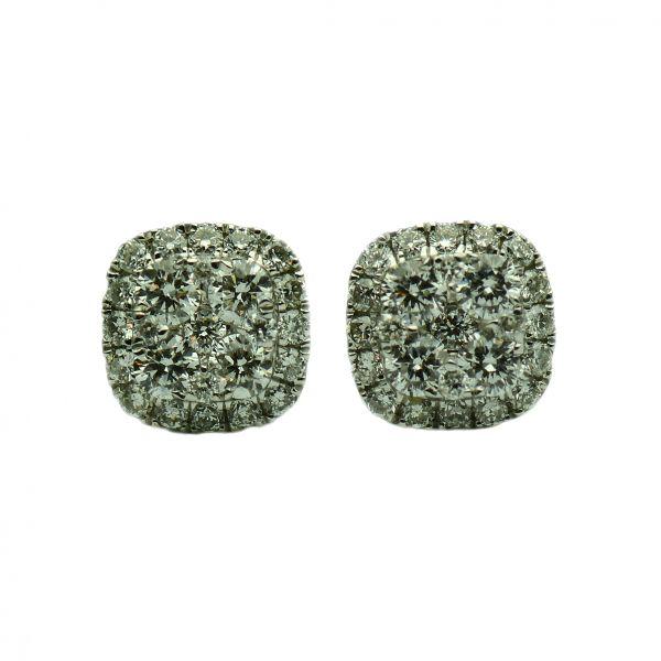 Cercei de aur alb cu diamante rotunde