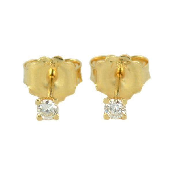 Cercei de aur galben 18k cu diamante rotunde