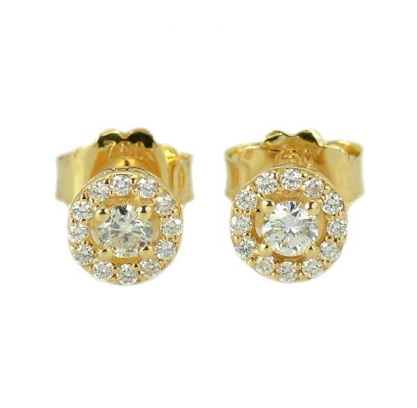 Cercei de aur galben cu diamante rotunde