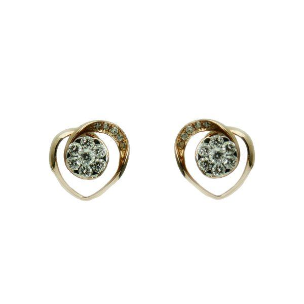Cercei de aur roz 14k cu diamante