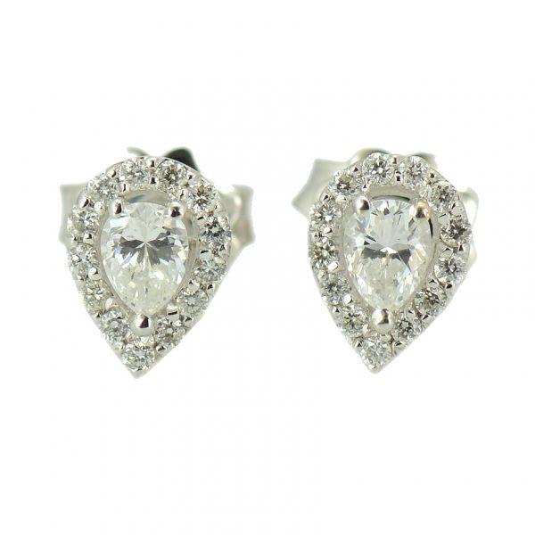 Cercei diamante din aur alb 18k