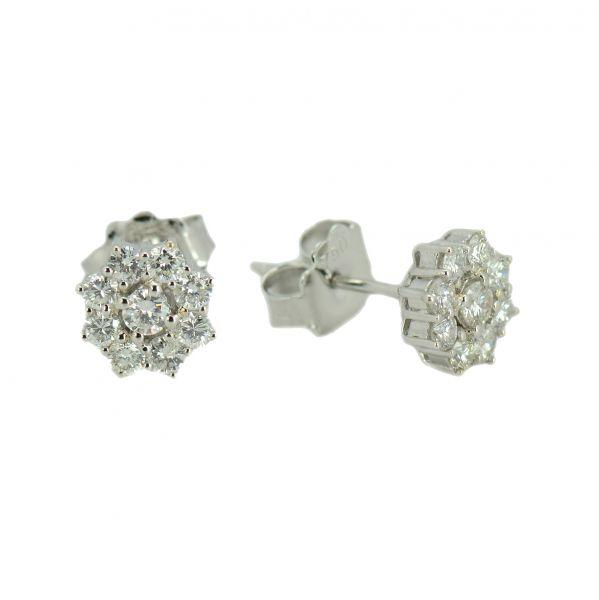 Cercei din aur de 18k cu diamante rotunde