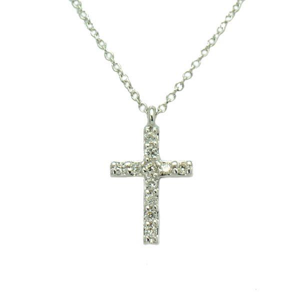 Lant cu pandantiv cruce aur alb 18k