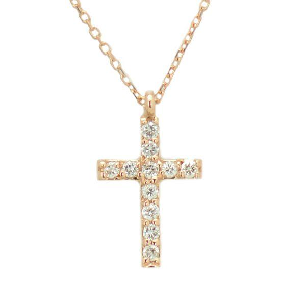 Lant cu pandantiv cruce de aur roz 18k