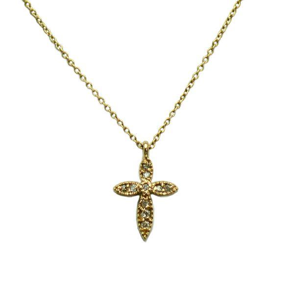 Lant si pandantiv cruce din aur roz cu diamante