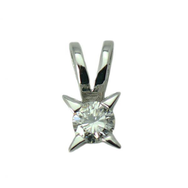 Pandantiv aur alb 18k cu diamant