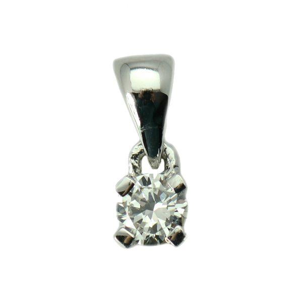 Pandantiv din aur alb cu diamant