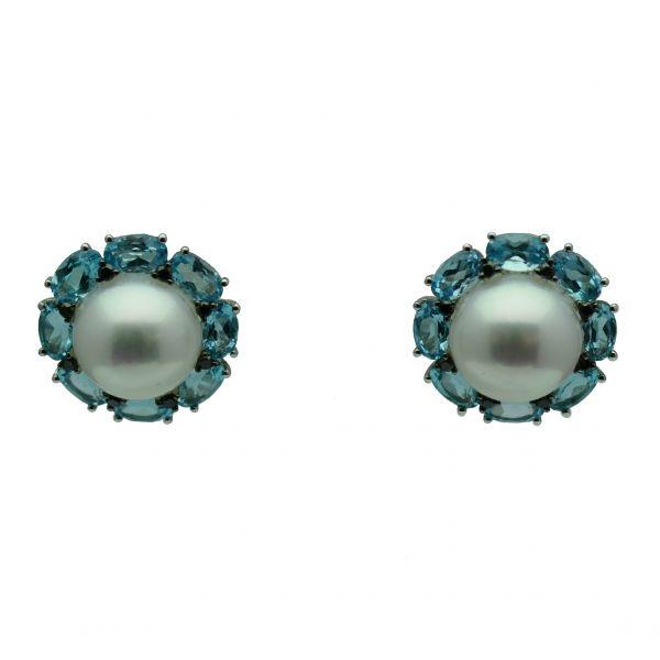 Cercei cu diamante, perle si topaze