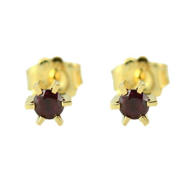 Cercei cu rubine din aur galben 18k