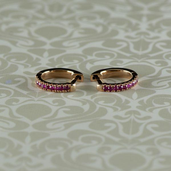 Cercei de aur roz 18k cu rubine