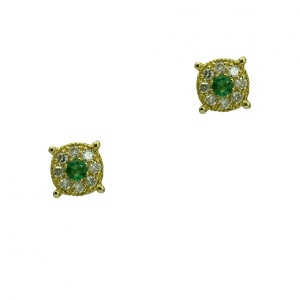 Cercei din 18k aur galben cu smaralde si diamante