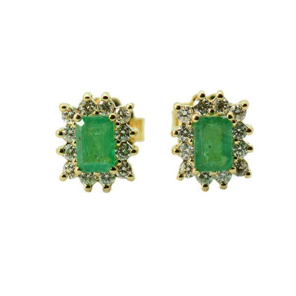 Cercei din aur 18k cu smaralde si diamante