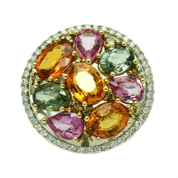 Inel 18k din aur alb cu safire si diamante