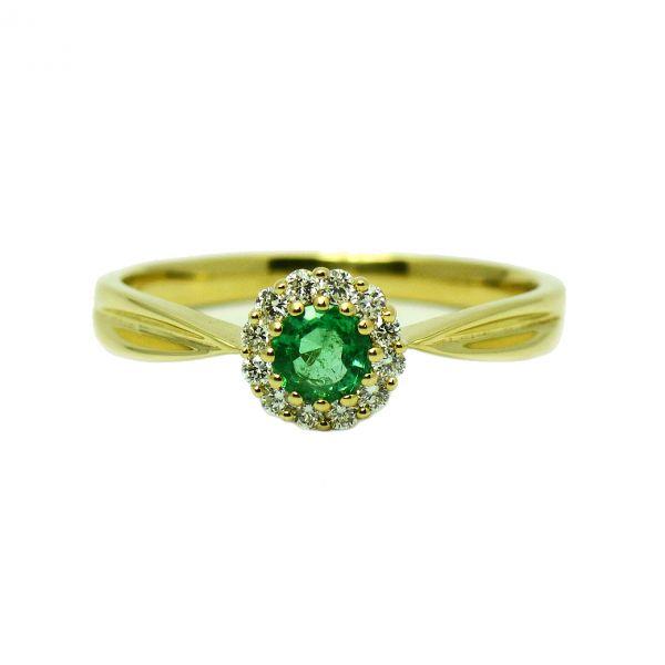 Inel aur galben cu smarald si diamante