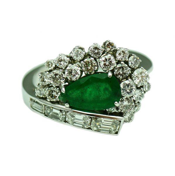 Inel cu smarald si diamante, aur 18k
