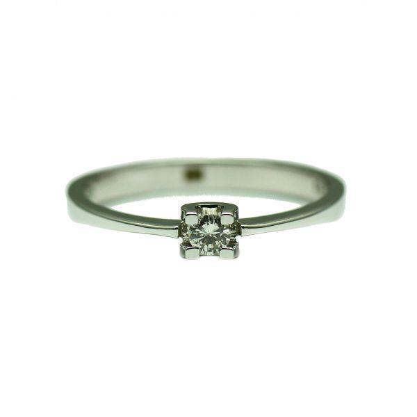 Inel de aur alb 18k cu diamant rotund