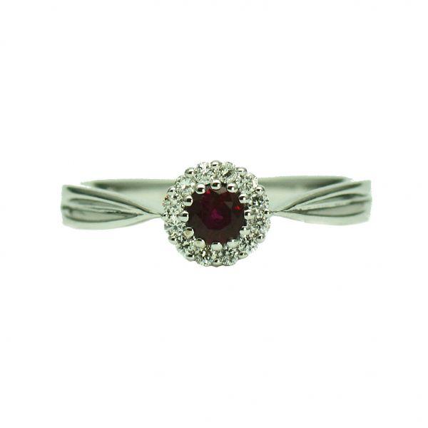 Inel de aur alb cu rubin si diamante