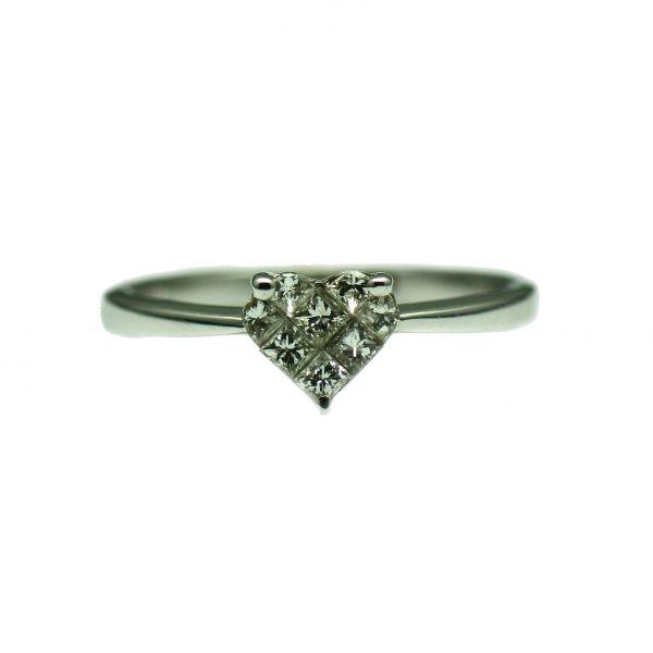 Inel de logodna de aur alb 18k, cu diamante princess