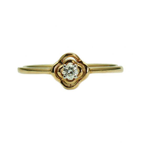 Inel de logodna din aur roz cu diamante