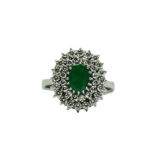 Inel din aur alb 14k cu smarald si diamante