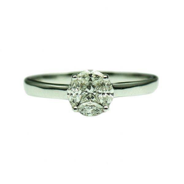 Inel din aur alb 18k, cu diamante princess si marquise