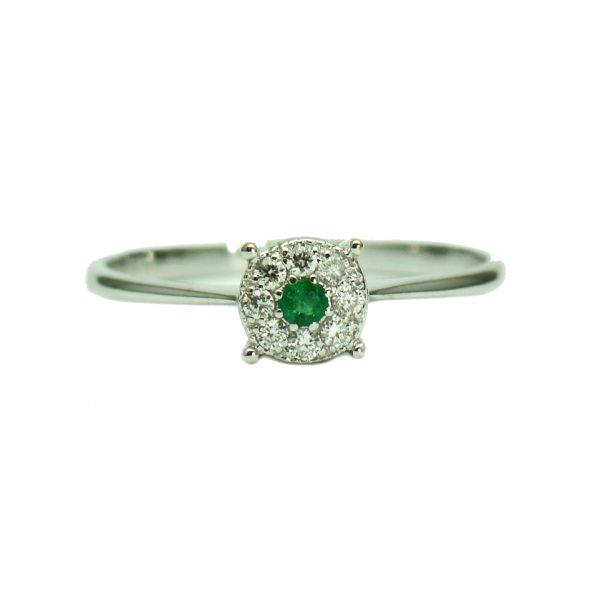 Inel din aur alb 18k cu smarald si diamante