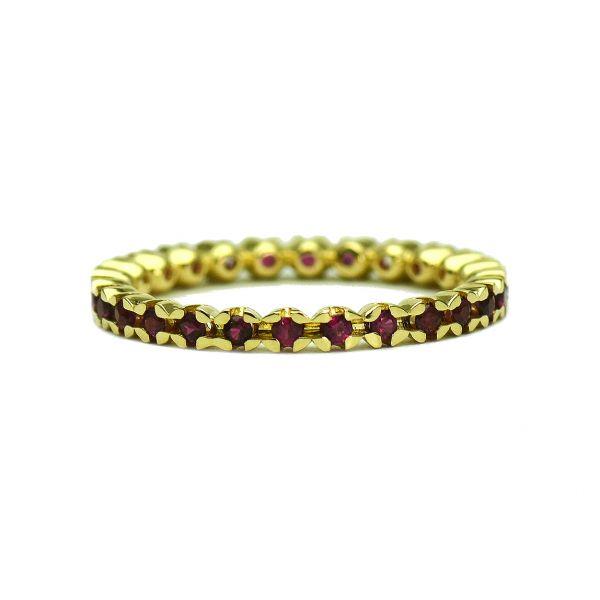 Inel din aur galben 18k cu rubine rotunde