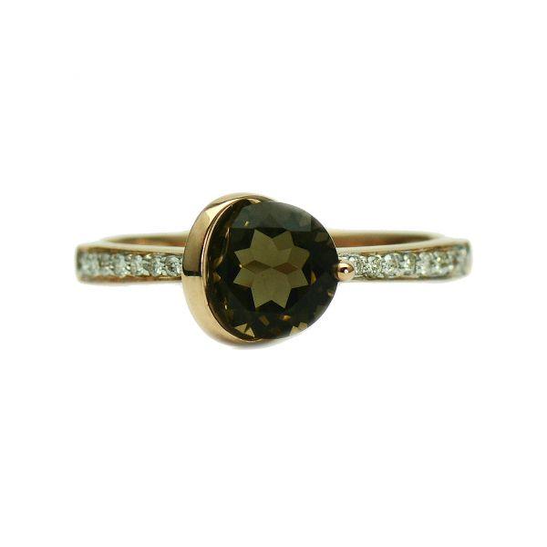 Inel din aur roz 14k cu diamante si cuart
