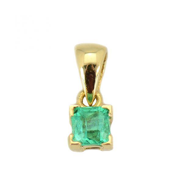 Pandantiv din aur galben 18k cu smarald