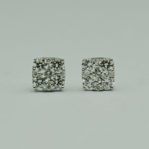 Cercei de aur alb, cu diamante (briliante)