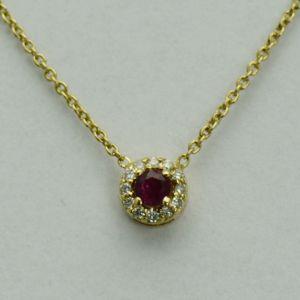 Lant si pandantiv din aur galben cu rubin si diamante