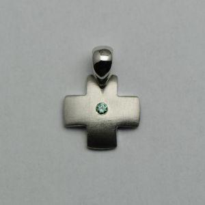 Pandantiv cruce din aur alb cu diamant