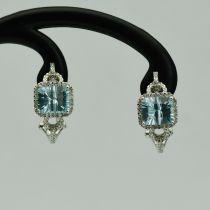 Cercei din aur alb cu diamante si aquamarine