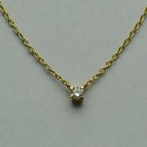 Lant cu pandantiv din aur galben cu diamant