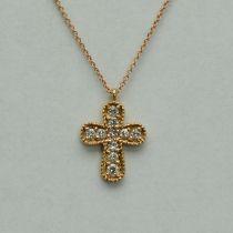 Lant si pandantiv cruce din aur roz cu briliante