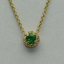 Lant si pandantiv din aur galben cu smarald si diamante