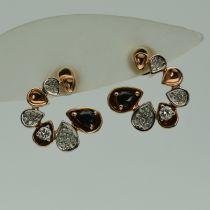 Cercei de aur roz 14k cu safire si diamante