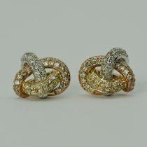 Cercei din aur alb, galben si roz cu diamante