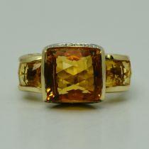 Inel de aur galben 14k cu citrine si diamante