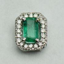 Pandantiv din aur alb 18k cu smarald si diamante